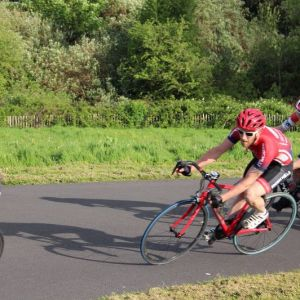 In my red club kit at Torbay Velopark, Circuit Racing