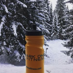 One of my water bottles in a snowy French ski resort